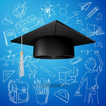 Vector Set of Hand Drawn Doodle School Vectors and Graduation Cap Stock Illustratie