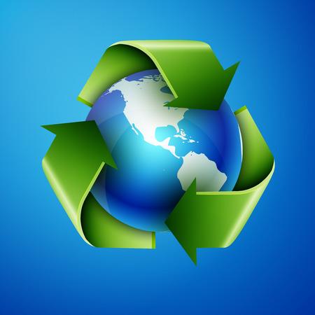 recycling pijlen en blauwe aarde, uitstekende vector illustratie, EPS-10