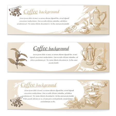Banner set of vintage coffee backgrounds. Menu for restaurant, cafe, bar, coffeehouse Illustration