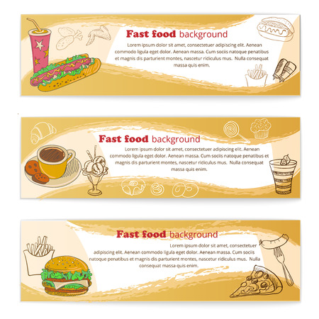 Banner set of vintage fast food backgrounds, badge and label Vector