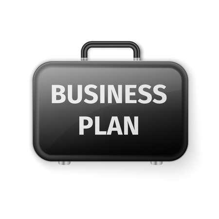 preparation: Black briefcase, Business plan concept. Excellent vector illustration, EPS 10