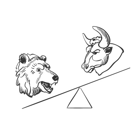 stock market crash: bull and bear financial doodle icons. excellent vector illustration, EPS 10