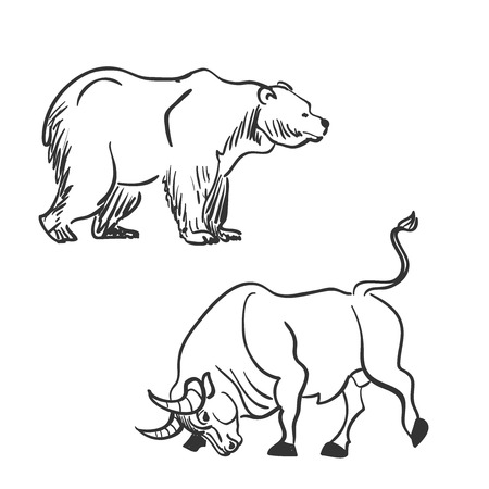 stock market crash: bull and bear financial doodle icons. excellent vector illustration,