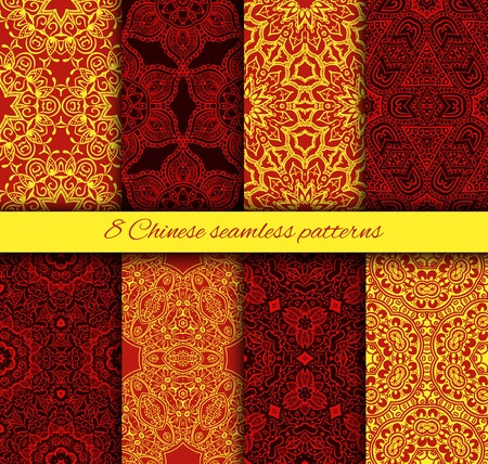 Different chinese vector seamless patterns. Endless texture can be used for wallpaper, pattern fills, web page background,surface textures.