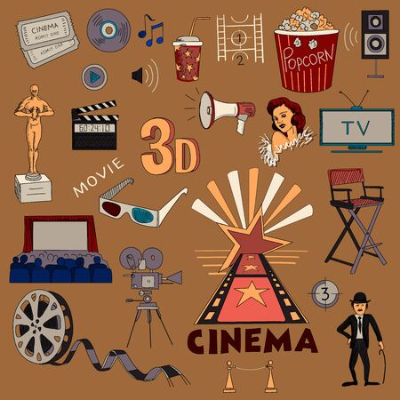Colored hand drawn cinema icon set on bright background Vector