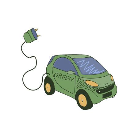 Gekleurde doodle elektrische auto. Geïsoleerde auto silhouet met een batterij.