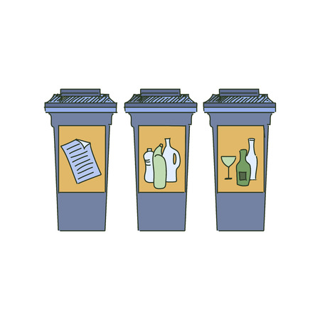 separacion de basura: Los diferentes contenedores de reciclaje de color, separaci�n de basura con el icono de los residuos, la ilustraci�n del concepto de gesti�n de residuos