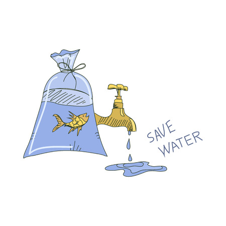 water concept: Colored doodle save water concept. Ecology vector illustration.