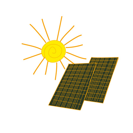 panels: colored doodle solar panels, excellent vector illustration, Illustration
