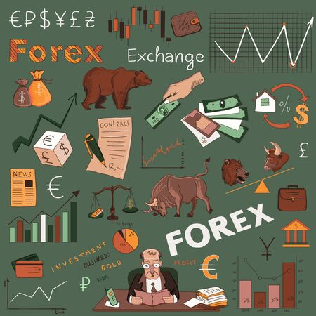 Colored finance forex hand drawing, excellent vector illustration,