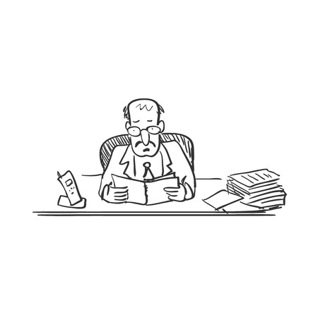 co workers: doodle chief, hand drawing style, excellent vector illustration, EPS 10