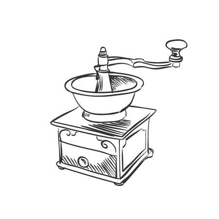 doodle coffee mill. Hand drawn illustration. excellent vector illustration, Vector
