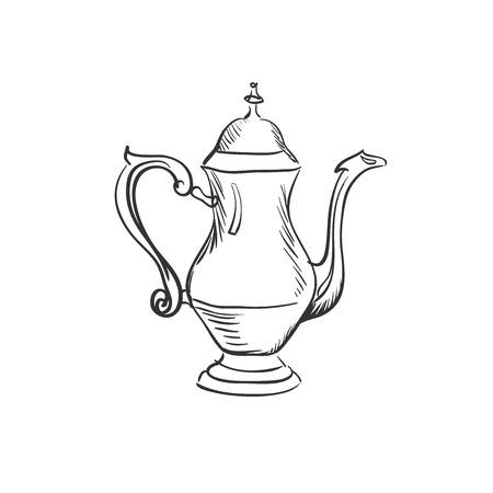 dinnerware: doodle coffee pot, excellent vector illustration,