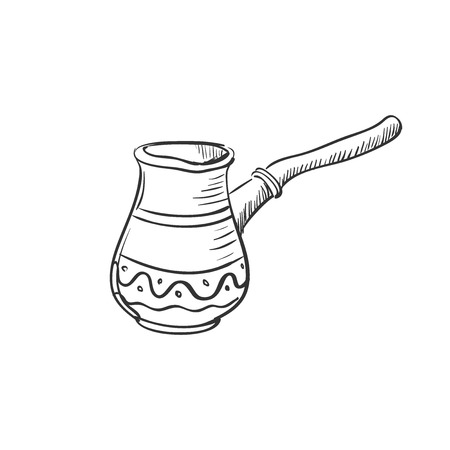 turk: doodle Turk to brew coffee for brewing coffee, excellent vector illustration,