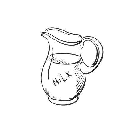 lowbrow: brocca Doodle di latte, eccellente illustrazione vettoriale,