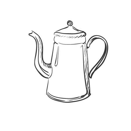 dinnerware: doodle coffee pot, excellent vector illustration, EPS 10 Illustration