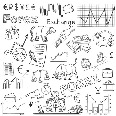 forex trading: finance forex hand drawing, excellent vector illustration,
