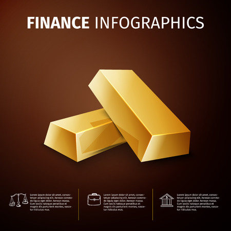 gold bullion: Business and finance infographics, with gold bullion