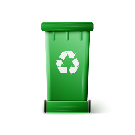 landfill: vector green recycle garbage can, excellent vector illustration, EPS 10