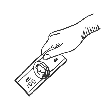 giving money: hand giving money doodle, excellent vector illustration, EPS 10
