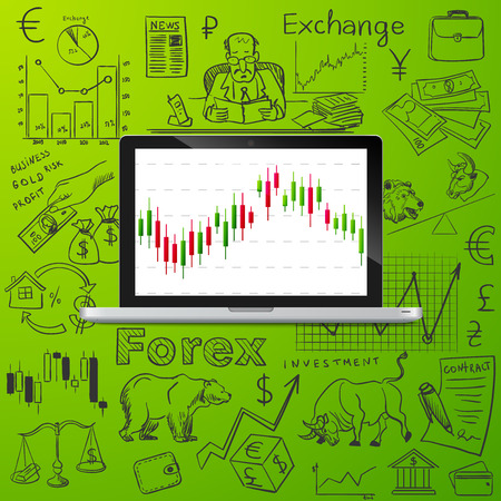 futures: laptop and exchange doodle icon, excellent vector illustration, Illustration