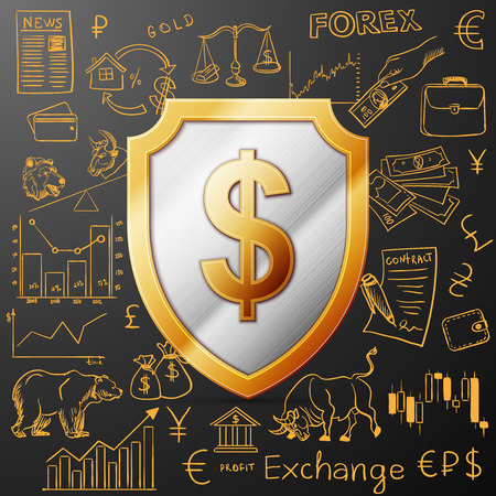shield with dollar sign and exchange doodle icon, excellent vector illustration,