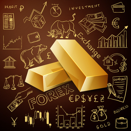 nyse: two gold nuggets and exchange doodle icon, excellent vector illustration, Illustration