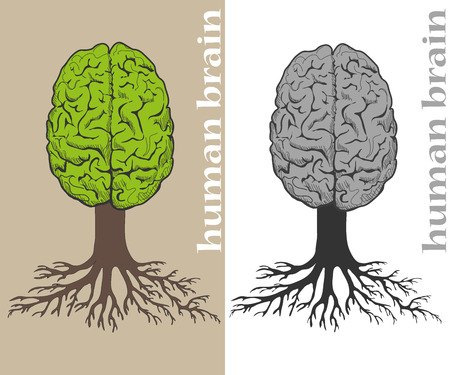 Vector tree formed in cortex of the human brain. Roots of tree formed by lines of text. Text in lines of text unreadable. Illustration