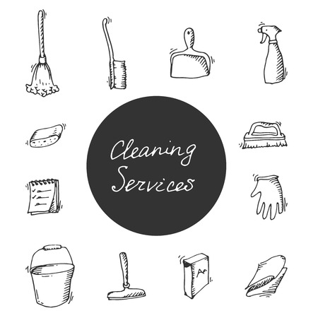 excellent service: House cleaning service hand-drawn icon set, excellent vector illustration, EPS 10