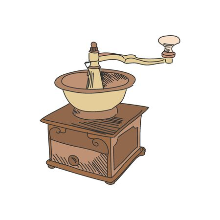 coffee mill: Colored doodle coffee mill isolated on white background