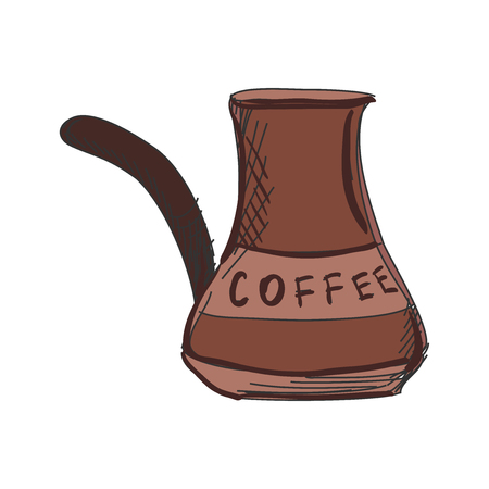 turkish dessert: doodle Turk to brew coffee for brewing coffee, excellent vector illustration, EPS 10