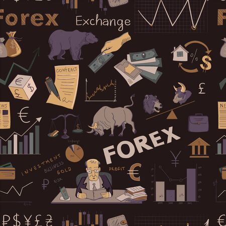 Colored finance forex hand drawing, excellent vector illustration, EPS 10