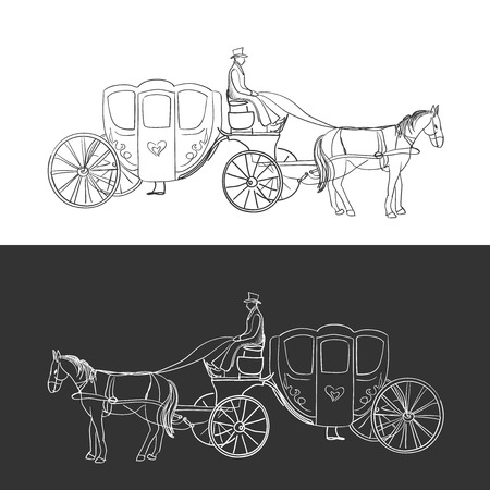 horse cart: doodle coach, carriage with horse and rider, excellent vector illustration,