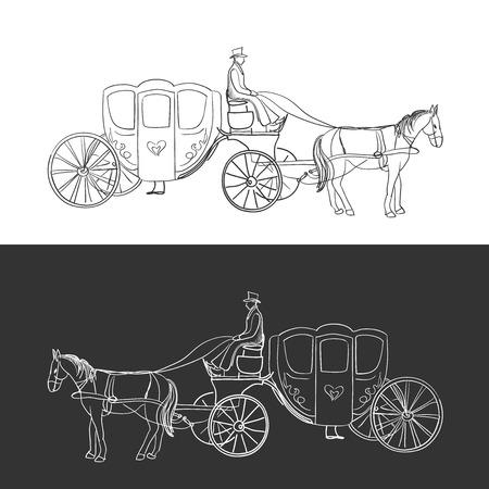 doodle coach, koets met paard en ruiter, uitstekende vector illustratie,