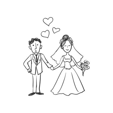 newlyweds: Sketch doodle newlyweds. Wedding. Excellent vector illustration, EPS 10