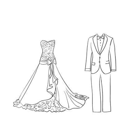 doodle wedding dress and suit, excellent vector illustration, EPS 10
