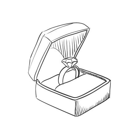 Vector doodle trouwring met diamant pictogram, hand getrokken stijl