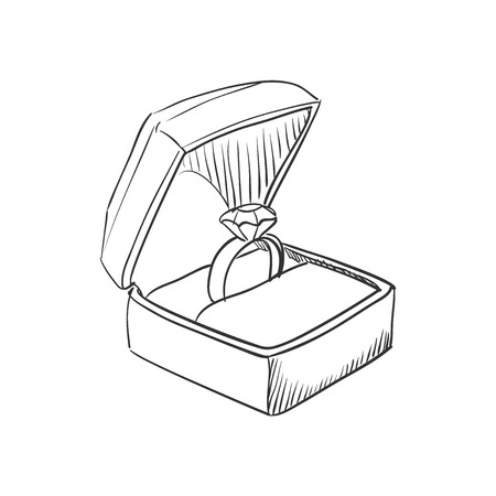 Vector doodle wedding ring with diamond icon, hand drawn style