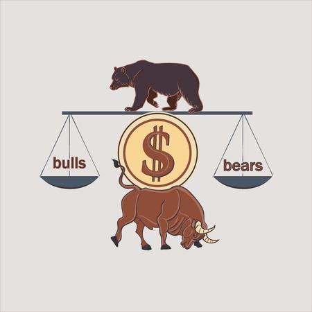 buey: Forex Finanzas Etiquetas Logo con el toro y el oso, excelente ilustraci�n vectorial, EPS 10