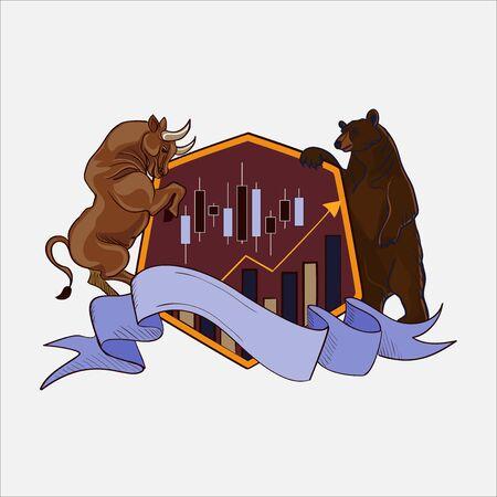 toro: Las etiquetas de divisas Finanzas con toro y el oso, excelente ilustración vectorial,