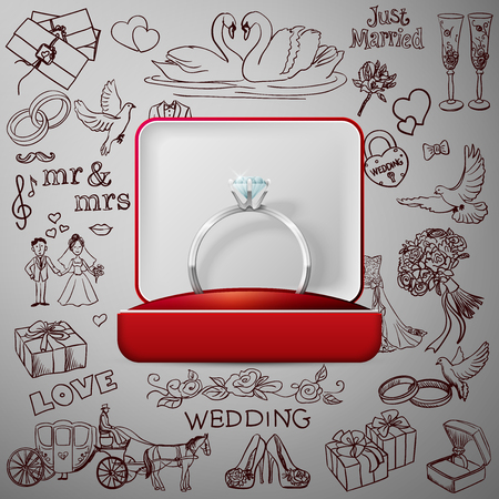 wedding cake: Hand drawn collection of decorative wedding design elements with gold wedding rings. Decorative set of holiday objects and signs. Illustration