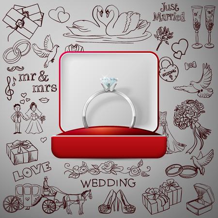 anillos boda: Mano dibujada colección de elementos de diseño de boda decorativos con los anillos de bodas de oro. Conjunto decorativo de los objetos de vacaciones o de signos.