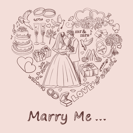 Heart drawn on sand with marry me text on it. excellent vector illustration, EPS 10