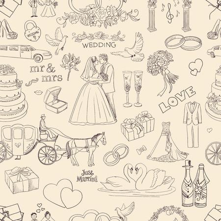 argollas matrimonio: Modelo inconsútil con los iconos de la boda, excelente ilustración vectorial, EPS 10