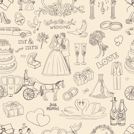 Naadloos patroon met bruiloft iconen, uitstekende vector illustratie, EPS-10