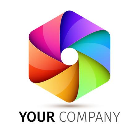 Abstracte kleurrijke sluiter van de camera-logo, uitstekende vector illustratie Stockfoto - 41856293