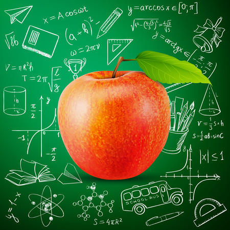 edu: tasty apple and hand draw school icon, excellent vector illustration