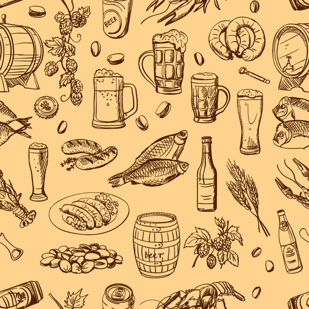 irish pub label design: Beer seamless pattern on beige background. Vector texture in hand draw style
