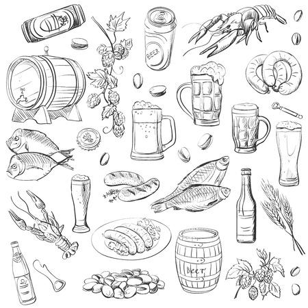 dibujo: cerveza. Dibujo a mano un conjunto de bocetos del vector en fondo blanco.