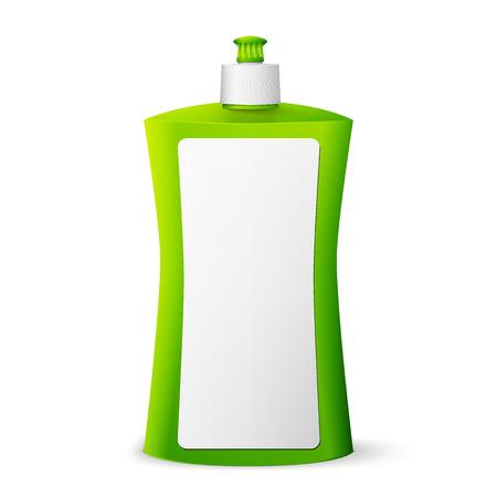 dish washing: Verde pacchetto liquido per stoviglie vuoto. illustrazione isolato su sfondo bianco.
